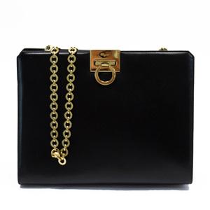 Salvatore Ferragamo diagonal shoulder bag chain gancini black gold leather ladies
