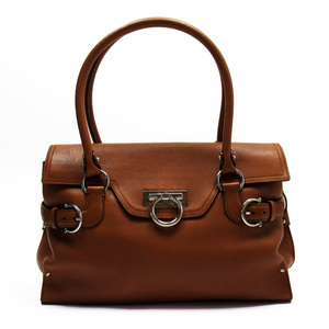 Salvatore Ferragamo Handbag Gantini Brown Silver Leather Ladies