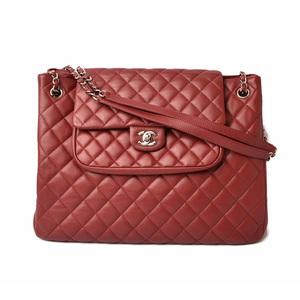 Chanel Shoulder Bag Chain Tote CHANEL 2way Caviar Skin Dark Red Silver Hardware
