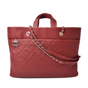 Chanel Shoulder Bag Chain Tote CHANEL Caviar Skin Rouge Red Silver Hardware
