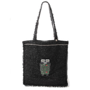 Chanel Tote Bag Shopping CHANEL Tweed Robot Large Black Green Resin Strass A94646