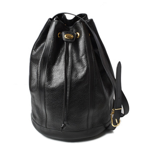 Christian Dior Shoulder Bag Drawstring Vintage Leather Black
