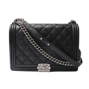 Chanel Chain Shoulder Bag CHANEL Boy Lambskin Black