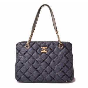 Chanel Shoulder Bag Chain Tote CHANEL Wild Stitch Vintage Navy Gold Hardware