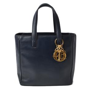 Christian Dior Handbag Tote Vintage Dark Navy Logo Charm