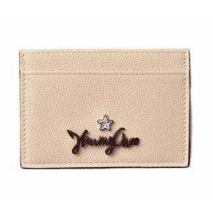 Jimmy Choo Card Case Business Holder JIMMY CHOO Leather One Star Rhinestone LINEN Off White