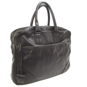 Bottega Veneta Briefcase Document Bag Business Intrecciato Keyed Leather Brown Men's BOTTEGAVENETA
