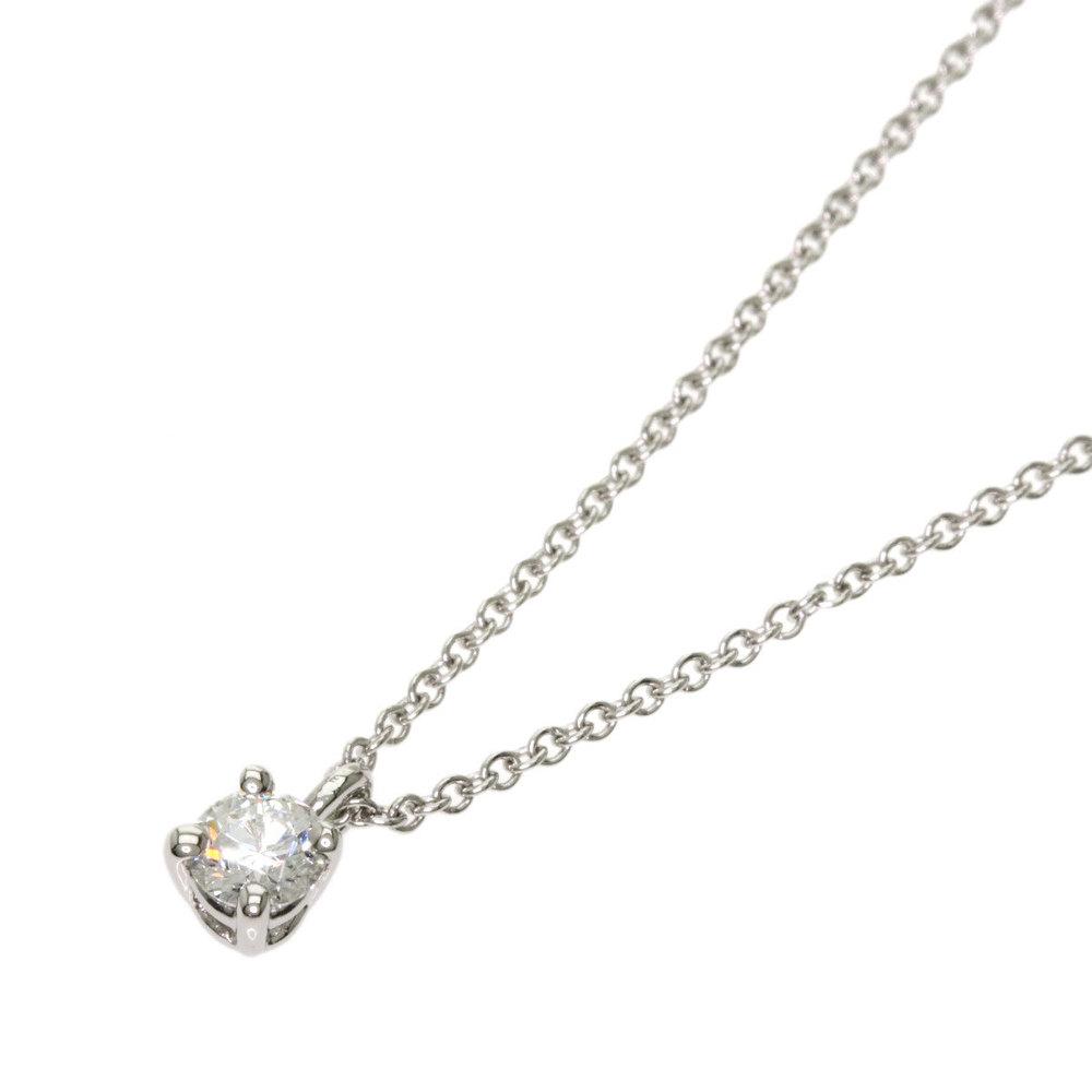 Tiffany Solitaire Stud Diamond Necklace Platinum Pt950 Ladies Elady Com