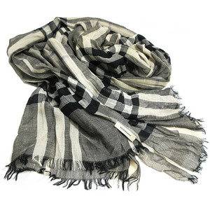 Burberry Stall Shawl Large Format Wool VIRGIN WOOL 51% Silk Black Gray Ivory Plaid Ladies Men BURBERRY