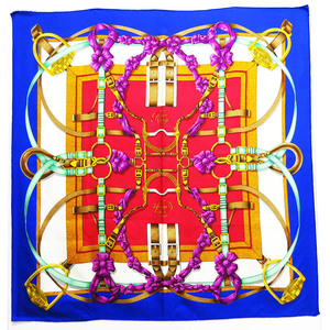 Hermes Large Format 100% Silk Scarf Carre 90 Flowers Ribbon Blue Red Multicolor