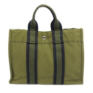 Hermes Fool Toe PM Hand Tote Bag Cotton 100% Canvas Khaki Navy Ladies Men HERMES