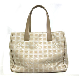 Chanel New Travel Line Tote Bag MM Beige Canvas Ladies CHANEL