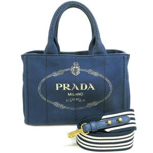 Prada Kanapa 2Way Hand Tote Bag With Shoulder Strap Striped Navy Blue Canvas Gold Hardware Ladies 1BG439 PRADA CANAPA