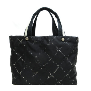 Chanel Old Travelline Tote Bag MM Black Canvas Ladies CHANEL