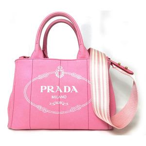 Prada Kanapa 2-Way Hand Tote Bag With Shoulder Strap Striped Pink Canvas Gold Hardware Ladies 1BG439 PRADA