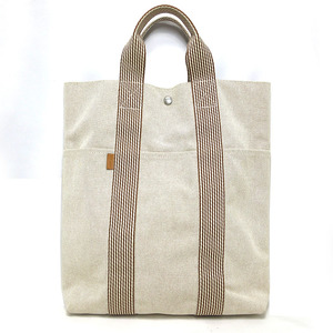 Hermes New Fool Toe Cabass Hand Tote Bag Vertical Cotton Canvas Beige HERMES