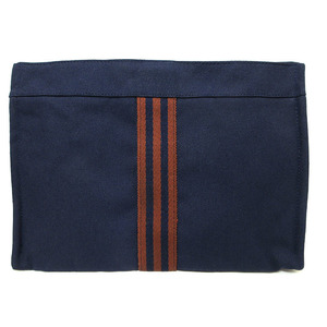 Hermes Fool Toe Pouch Cosmetic Clutch Bag Cotton Canvas Navy Brown Bicolor HERMES