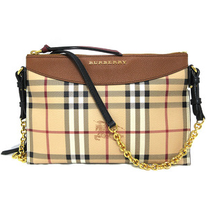 Burberry Chain Shoulder Bag Peyton Check Beige Brown PVC Gold Hardware BURBERRY 4059654