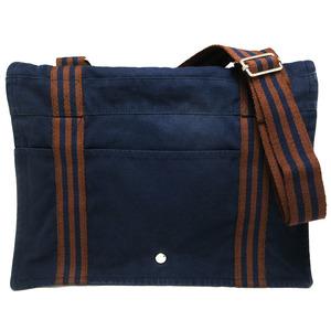 Hermes HERMES fool toe basus GM shoulder bag cotton canvas navy brown bicolor men's ladies messenger