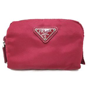 Prada Mini Pouch Nylon Makeup Cosmetic Cigarette accessory case Purple Triangle Plate Ladies 1NA339 PRADA