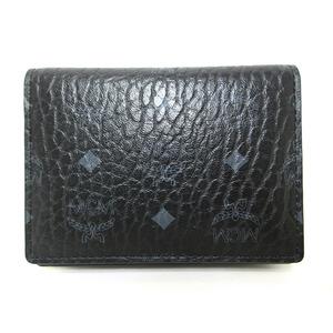 MCM Logo Gram Leather Business Card Holder Case Pass Men Women Black MXS 6AV163