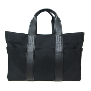 Hermes Hand Tote Boston Bag Acapulco MM Mens Womens Nylon Canvas Leather Black HERMES