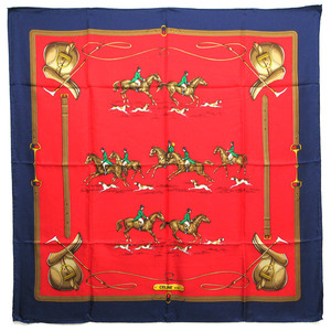 Celine large format 100% silk scarf horse dog knight navy red CELINE MADE IN ITALY