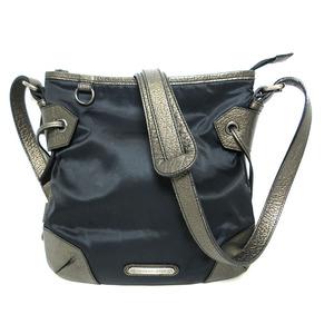 Burberry Shoulder Bag Check Nylon Canvas Leather Black Bronze Men Women BURBERRY