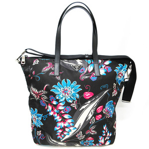 Prada Bag 2WAY Shoulder Tote Nylon Black Blue Pink Flower Floral Silver Hardware B4696F PRADA Strap