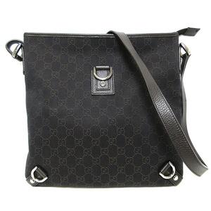 Gucci GG canvas denim shoulder bag Abbey leather dark brown 278672 GUCCI