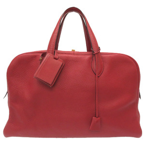 Hermes Victoria 45 Taurillon Clemence Rouge Ash Gold Hardware Boston Bag 0120 HERMES