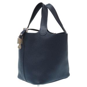 Hermes Picotan Lock PM Taurillon Clemence Blue Nuy Silver Hardware X Engraved Handbag 0099HERMES