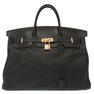 Hermes Birkin 50 Taurillon Clemence Black Gold Hardware □I Engraved Handbag Bag 0121 HERMES Men's