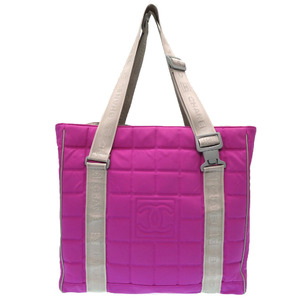 Chanel Sports Line Chocolate Bar Shoulder Tote Bag Pink Purple 0087CHANEL