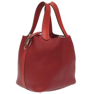 Hermes Picotan Lock PM Touch Taurillon Clemence Swift Rouge Ash Brick Handbag T Engraved 0022HERMES