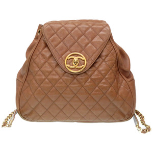 Chanel Matrasse Backpack Caviar Skin Coco Mark Turnlock Bag Brown Gold Hardware 0024CHANEL