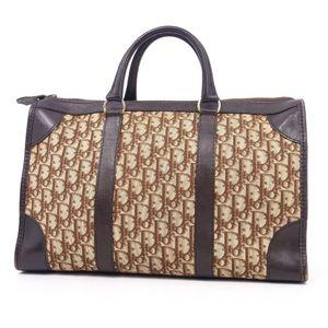 Christian Dior Trotter Scotchgard Canvas Leather Handbag Ladies Vintage
