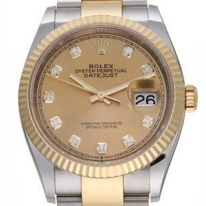 Rolex Datejust 36 10P Diamond Random Number Mens Watch 126233G Stainless Steel Champagne Dial