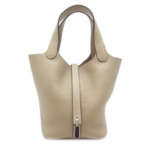 Hermes Picotan Lock PM T Engraved Ladies Handbag Taurillon Clemence Tourtier Gray