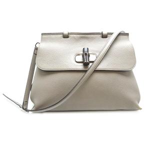 Gucci Bamboo Daily 2WAY Bag Ladies Handbag 392013 Leather Gray