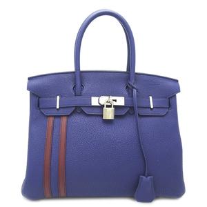 Hermes Birkin 30 Officer C Engraved Ladies Handbag Togo Blue Uncle Bordeaux Silver Hardware Palladium