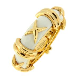 Tiffany Croisillon Enamel Ladies Ring/Ring 750 Yellow Gold No. 13.5