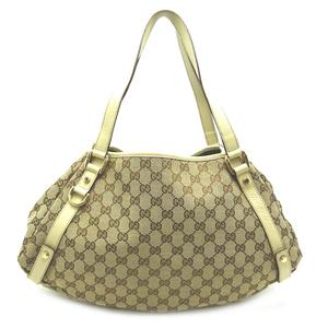 Gucci tote bag 130736 ladies shoulder GG canvas beige