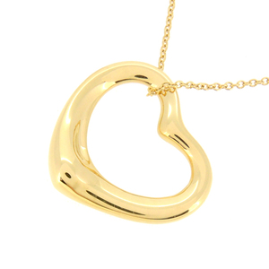 Tiffany Open Heart Ladies Necklace 750 Yellow Gold