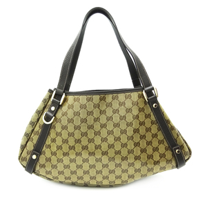 Gucci Abbey Tote Bag Ladies Shoulder 293578 Coated Canvas Brown