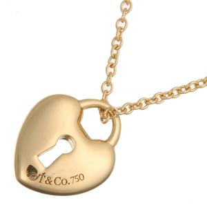 Valente Tiffany Lock Heart Pendant Ladies Necklace 750 Yellow Gold