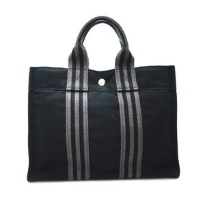 Hermes Fool Toe PM Ladies Handbag Cotton Canvas Black