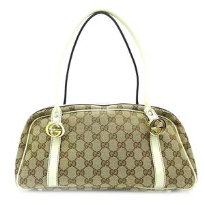 Gucci Twins Canvas Boston Bag Ladies Shoulder 232958 GG Beige White