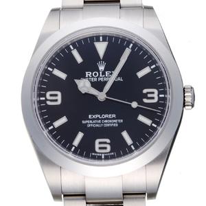 Rolex Explorer I Random Number Mens Watch 214270 Stainless Steel Black Arabian Dial