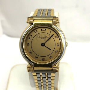 Christian Dior Wrist Watch Quartz Combi 18K GOLD ELECTROPLATED Stainless Gold Dial Ladies